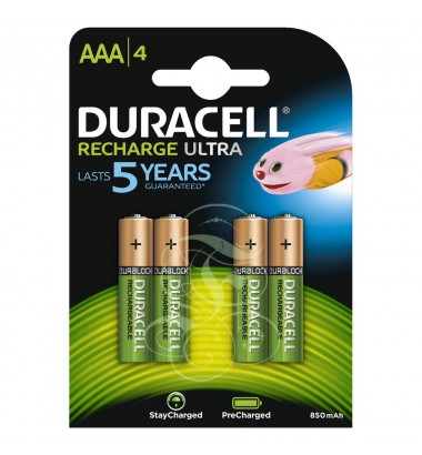 Duracell Rechargeable Battery AAA Micro HR03 900mAh Ni-Mh, 4 Pack