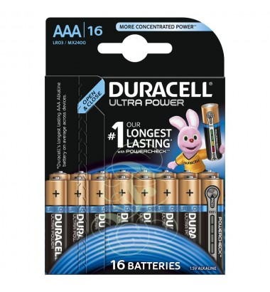 Duracell Ultra Power Battery AAA Micro LR03 MX2400, 16 Pack