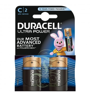 Duracell Ultra Power Battery C Baby LR14 MX1400, 2 Pack