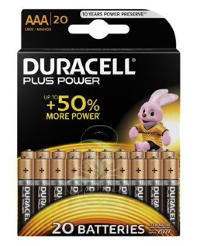 Duracell Plus Power Battery AAA Micro LR03 MN2400, 20 Pack