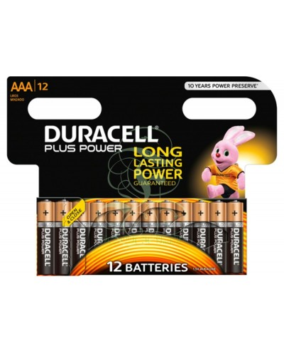 Duracell Plus Power Battery AAA Micro LR03 MN2400, 12 Pack