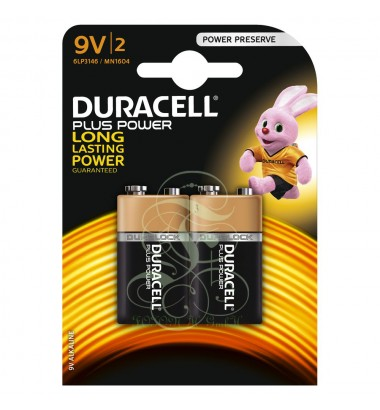Duracell Plus Power Battery 9V E-Block 6LR61 MN1604, 2 Pack