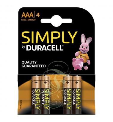 Duracell Simply Battery AAA Micro LR03 MN2400, 4 Pack