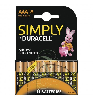 Duracell Simply Battery AAA Micro LR03 MN2400, 8 Pack