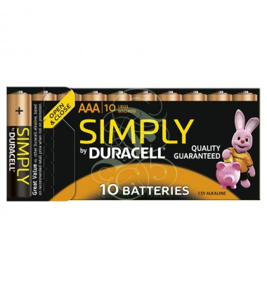 Duracell Simply Battery AAA Micro LR03 MN2400, 10 Pack