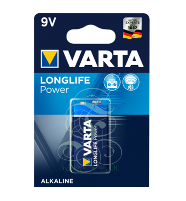 Varta Longlife Power Battery 9V E-Block 6LR61 4922, 1 Pack