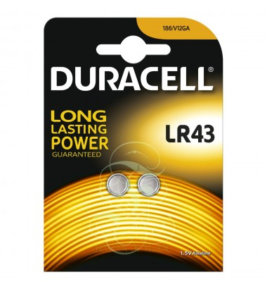 Duracell Buttoncell Battery LR43 301 386 AG12 183 , 2 Pack