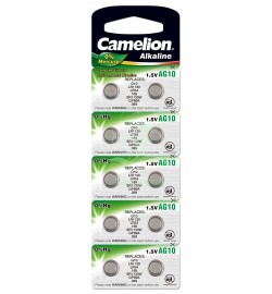 Camelion Buttoncell Battery AG10 LR54 LR1131 389 390, 10 Pack
